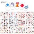 HNUIX 12 шт. рождественские наклейки для ногтей Водные Наклейки Снеговик Санта Клаус дизайн ногтей новогодний слайдер маникюрный набор инстру...