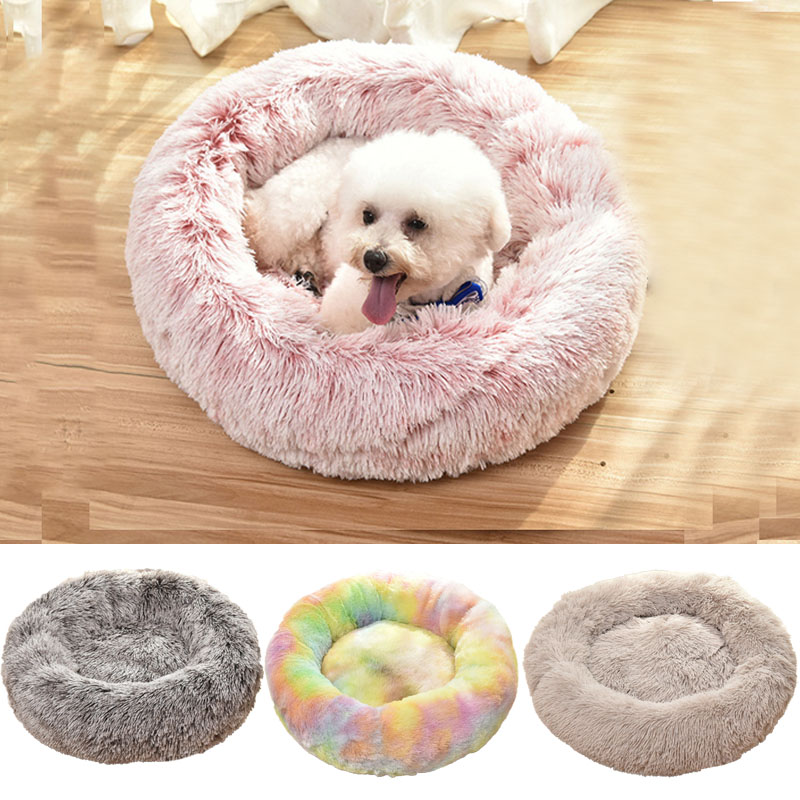 Round Plush <font><b>Cat</b></font> <font><b>Bed</b></font> <font><b>House</b></font> Soft Winter Dog <font><b>Bed</b></font> For Small Dogs <font><b>Cats</b></font> Nest Winter Warm <font><b>Cat</b></font> Sleeping <font><b>Beds</b></font> Puppy Cushion Mat Supplies image