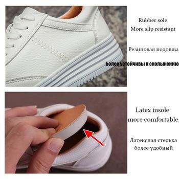 Fashion White Split Leather Women Chunky Sneakers White Shoes Lace Up Tenis Feminino Zapatos De Mujer Platform Women Casual Shoe 3