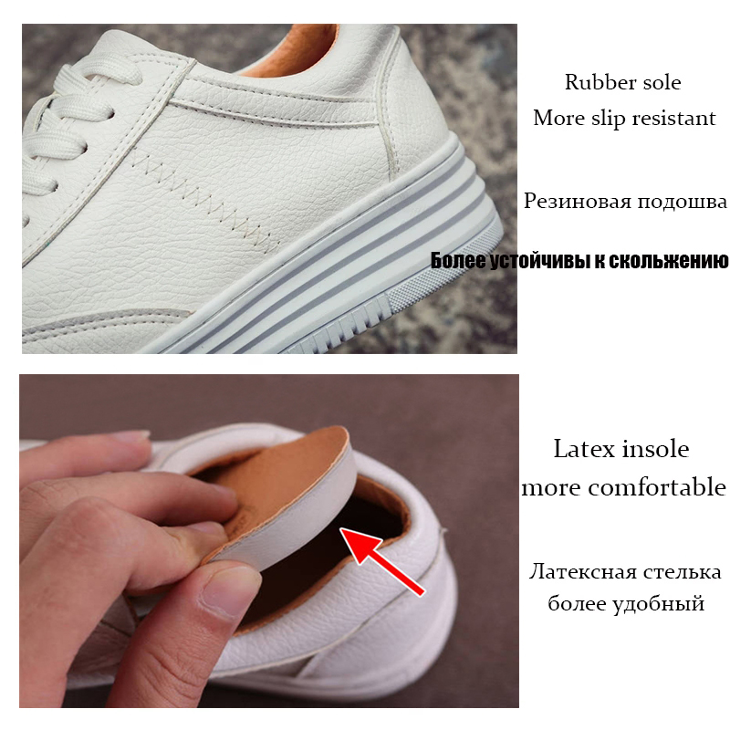 Fashion White Split Leather Women Chunky Sneakers White Shoes Lace Up Tenis Feminino Zapatos De Mujer Platform Women Casual Shoe