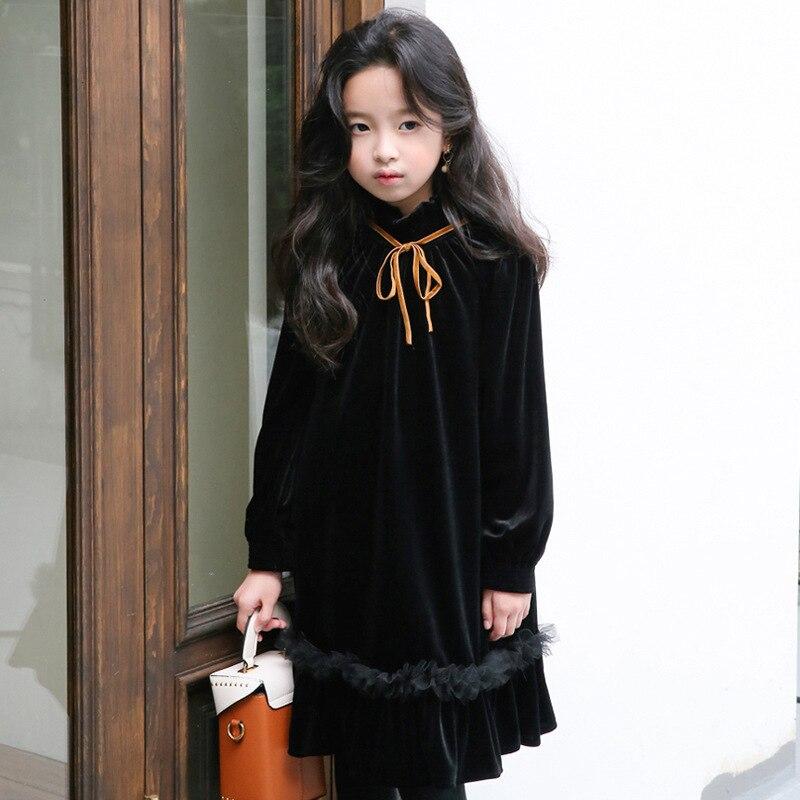 Зимнее платье для девочек подростков Новинка 2019 года, флисовое осеннее платье для маленьких девочек детское Повседневное платье черного цвета Топ для девочек, платья для малышей