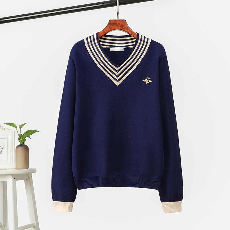 SINGRAIN 女性ストライプセーター暖かいニットプルオーバー V ネックトリコット蜂刺繍女性の冬のファッションニットセーター