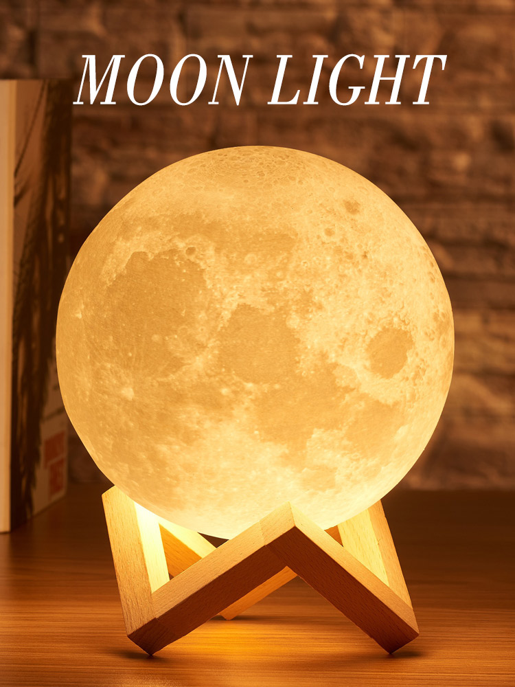 Rambery Tap-Control-Lamp-Lights Moon-Lamp Gift 3d-Print Remote-Led-Moon 16-Colors-Change