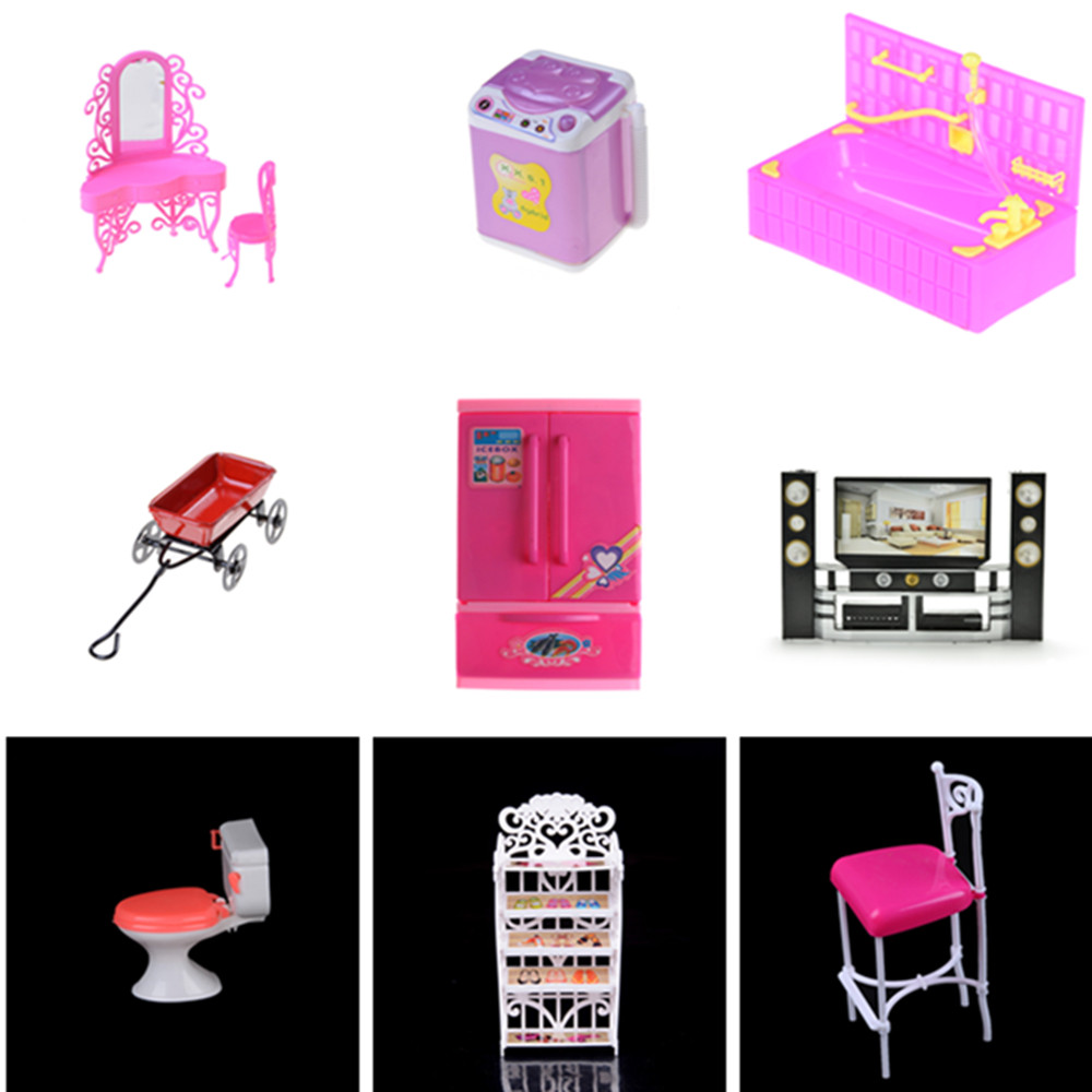 1x Fridge Mini Washing Machine Fan Bed For  Doll Accessories Kelly Pretend Toys For Girls Doll Toy Accessories Play House