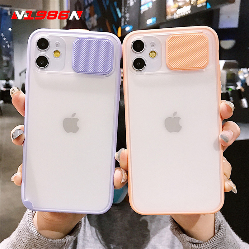 N1986N Slide Camera Lens Protection For iPhone 11 Pro Max X XR XS Max Phone Case Fashion Candy Colors Hard PC For iPhone 11 Pro