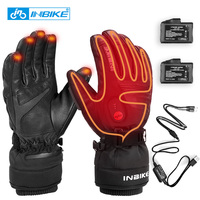 INBIKE Winter Heated Sport Gloves USB Rechargeable Waterproof Electric Thermal Leather Cycling Motorcycle Ski MTB Bike Gloves