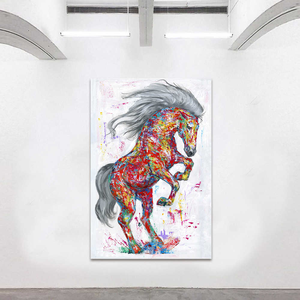 HDARTISAN Wall Art Pictures Canvas Art Prints Animal Painting Standing Horse For Living Room No Frame