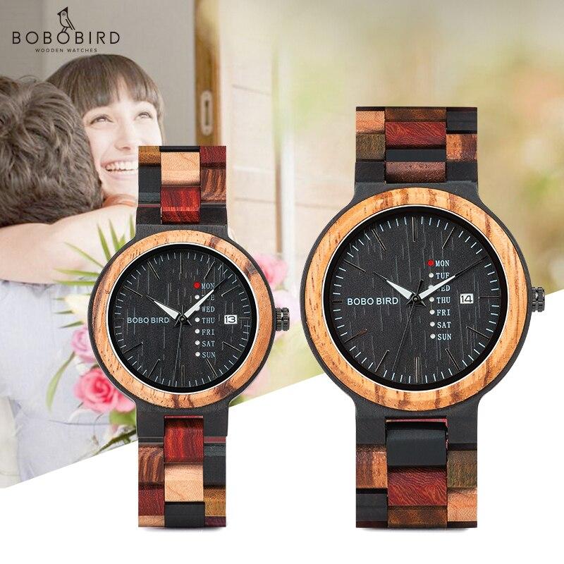 BOBO Homens Relógio relogio masculino Designer de PÁSSARO de Madeira de Luxo Auto Data Relógios de Cores para Os Homens Feitos À Mão relógio de Pulso de Quartzo C-P14- 1