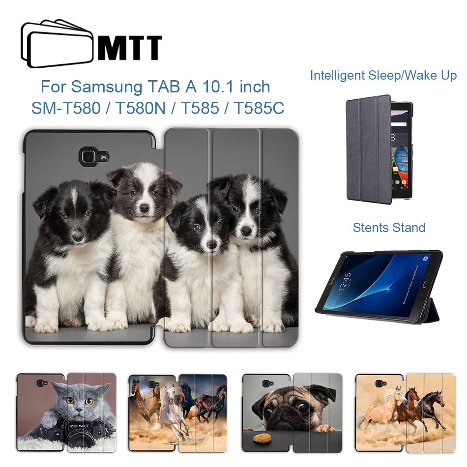 MTT <font><b>Tablet</b></font> Case For <font><b>Samsung</b></font> <font><b>Galaxy</b></font> <font><b>Tab</b></font> <font><b>A</b></font> a6 <font><b>10.1</b></font> 2016 T585 <font><b>T580</b></font> SM-<font><b>T580</b></font> T580N PU Leather Flip Stand Smart Cover Cute Dog <font><b>Funda</b></font> image