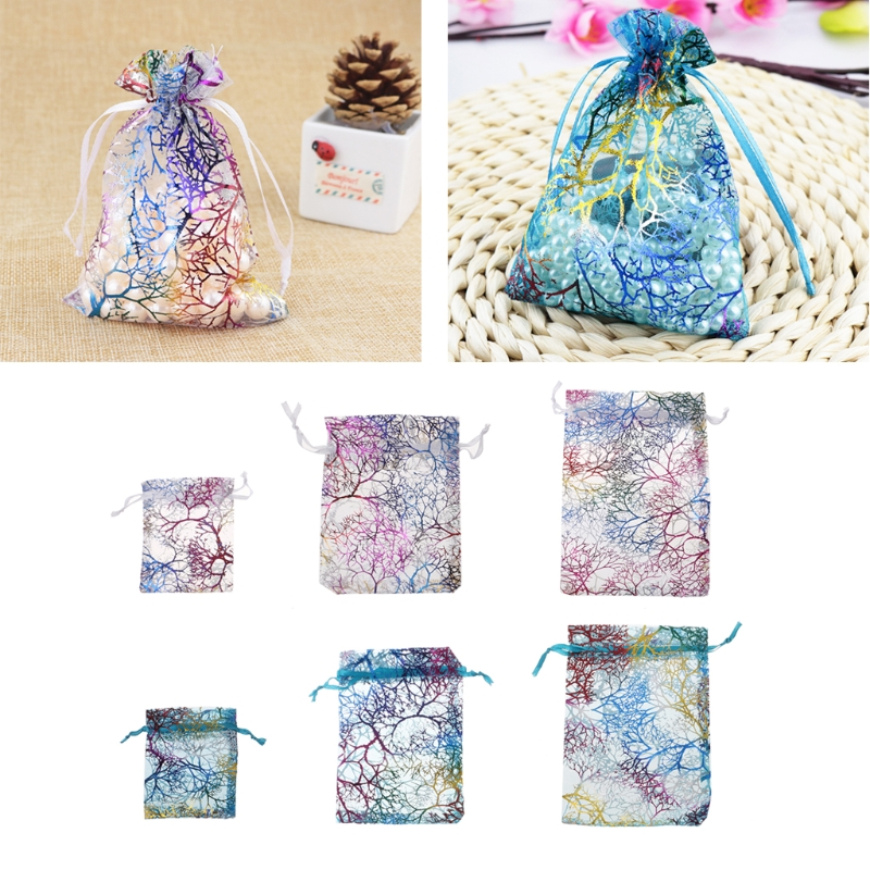 10Pcs Coralline Organza Gift Bags Party Wedding Favor Bags Jewelry Pouches Jewelry Packaging Present Wrapping