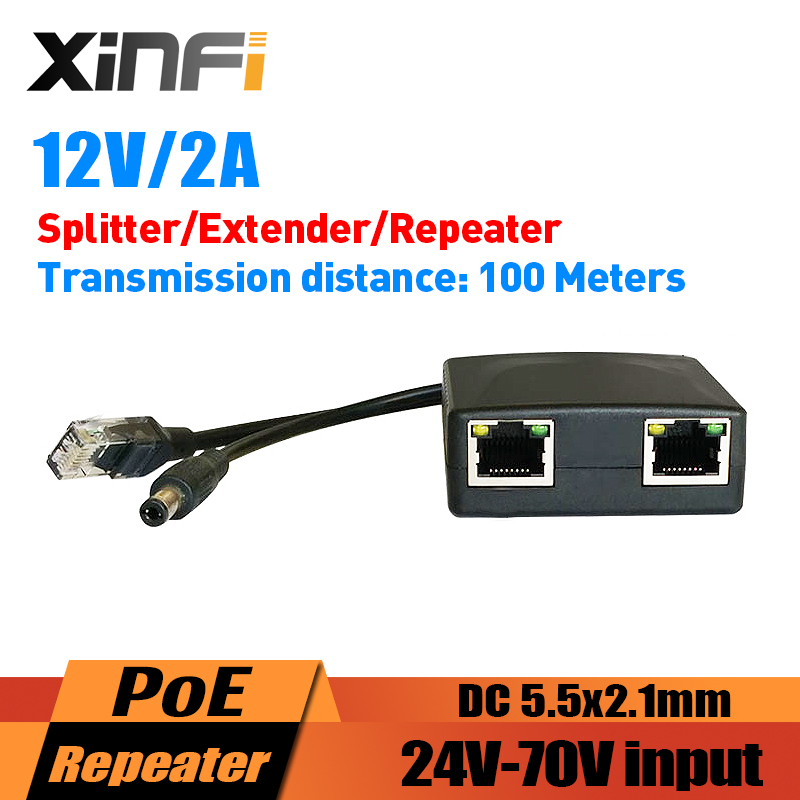 XINFI 24 70V DC Input 12V2A Output PoE Splitter/Extender/Repeater DC 5.5*2.1 For IP Camera/AP Cascading Mode Easy InstallationTransmission & Cables   -
