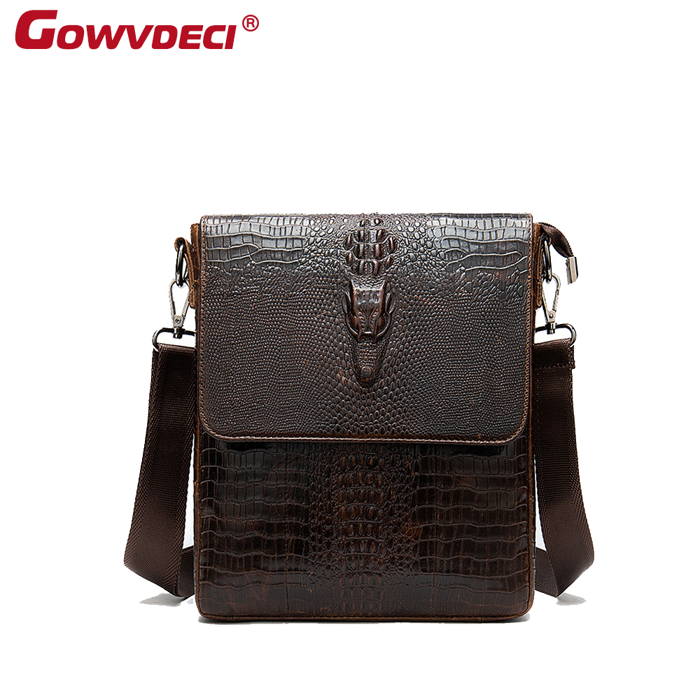 Genuine Leather Crocodile Business Square Men's Shoulder Bag European And American Outdoor Vertical Briefcase