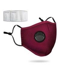 Mascarilla facial reutilizable de algodón con válvula de respiración, máscara de protección facial lavable, con filtro reemplazable de 5 capas