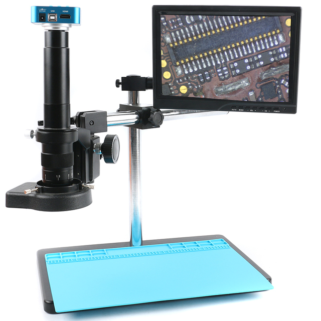 FHD 36MP อิเล็กทรอนิกส์กล้องจุลทรรศน์ดิจิตอลกล้อง HDMI USB กล้องจุลทรรศน์ดิจิตอล Boom Stannd 180X/300X ซูมเลนส์ C mount 144 LED Light