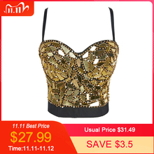 Womens Gold Silver Sequin Cropped Tops Rhinestone Pearl Tank Top Glitter Sexy Bustier Tops Rave Festival Party Vest