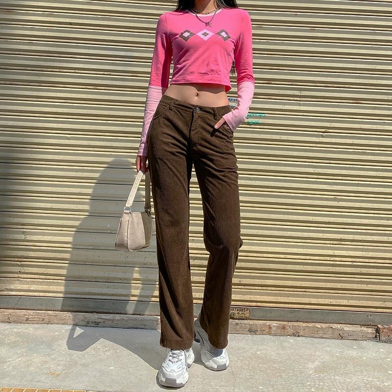 2021 новая уличная вельветовые прямые брюки для бега, для женщин, на каждый день, Ретро стиль, коричневый спортивные штаны 90s карамель низкой т...