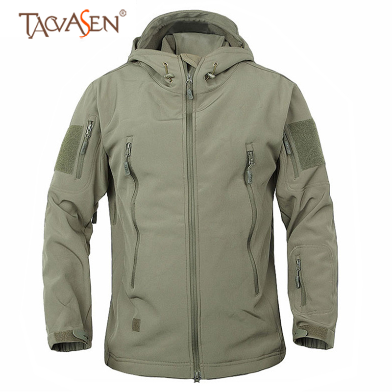 TACVASEN Men Military Jacket Army Tactical Jacket Windproof Hiking Jackets Waterproof Outdoor Camping Clothing Hunting Jacket
