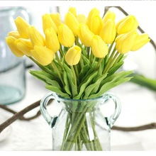 Fake Tulips Artificial-Flower Wedding-Decor Yellow Real-Touch Bouquet White 30pcs PU