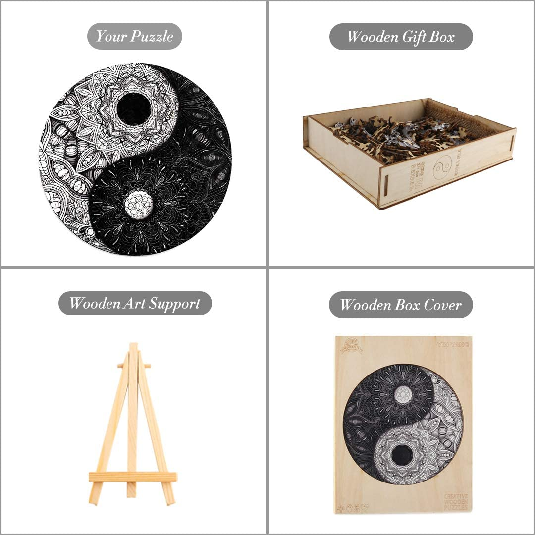 Traditional Yin And Yang Wooden Puzzles Tai Chi Kung Fu Shapes Children Wood DIY Crafts Wooden Jigsaw Fabulous Puzzles Toys Gift