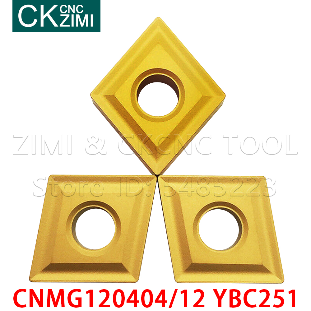 10PC CNMG120404 CNMG120412 YBC251 Blades Carbide Inserts Durable Cutter For Lathe Turning Tools <font><b>CNMG</b></font> <font><b>120404</b></font> 12 CNC Milling Tools image