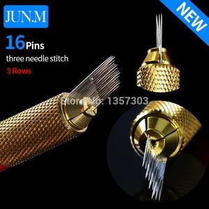 Image 2 - 100個3行ライン16Pin針恒久眉毛メイク針microbladingペンマニュアル刺繍送料無料のための