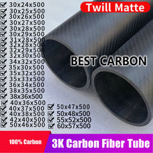 Tube enroulé en Fiber de carbone, haute qualité, surface mate en sergé, 30 31 32 34 35 36 38 40 42 50 55 60, 500mm de long, livraison gratuite