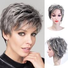 MUMUPI peluca corta con rulos para mujer, pelo sintético, corte pixie, fibra de alta temperatura, Peluca de señora