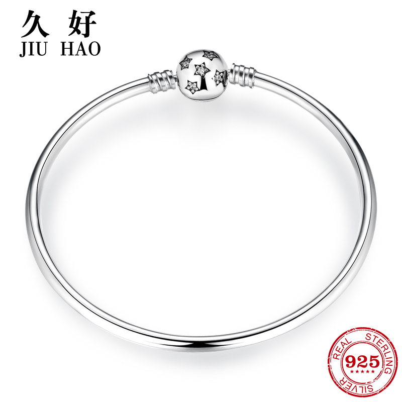 New arrival 925 Sterling Silver Charming Bright star CZ Bracelets Charms 2018 Fashion woman Bracelet Bangles Luxury Jewelry(China)