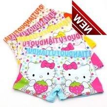 5pcs/lot Kitty Cute Children Girls Cat Underwear Kids Fashion Boxer Brief Infant Baby Girl Panties Underpants