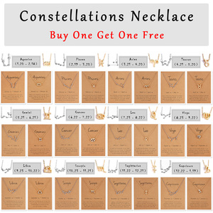 Elegant Star Zodiac Sign 12 Constellation Pendant Necklace Femme Charm Gold Silver Color Choker Necklace for Women Jewelry Gift