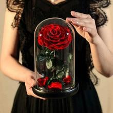 Ainyrose beleza e a besta preservado flores vermelho eterno rosa flor na cúpula de vidro presente dos namorados para namorada dropshiping