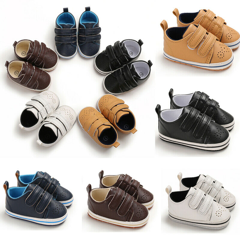 PUDCOCO Toddler Baby Boys Girls Artificial Leather Crib Shoes Rubber Soft Cotton Sole Sneaker Shoes Prewalkers Trainers 0-18M