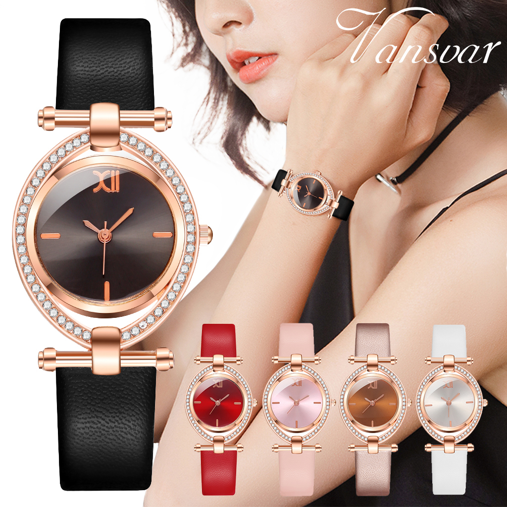 Vansvar Brand Women Oval Diamond Watches Luxury Ladies Leather Dress Quartz Wristwatches Female Clock Relogio Feminino