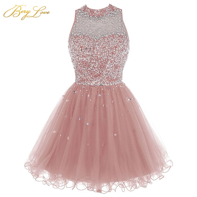 Cheap Blush Homecoming Dress Crystal Beaded Sparkly Short Gowns Above Knee Mini Prom Graudation Dress Party Free shipping