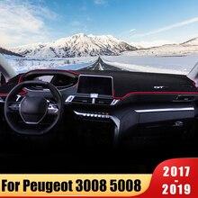 цена на Car Dashboard Avoid light Pad Instrument Platform Desk Cover Mats Carpets For Peugeot 3008 5008 2017 2018 2019 Accessories