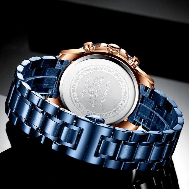 CRRJU mężczyźni oglądać najlepsze marki duża tarcza Sport zegarki męskie luksusowy zegarek kwarcowy chronograf męskie niebieskie zegarki Relogio Masculino