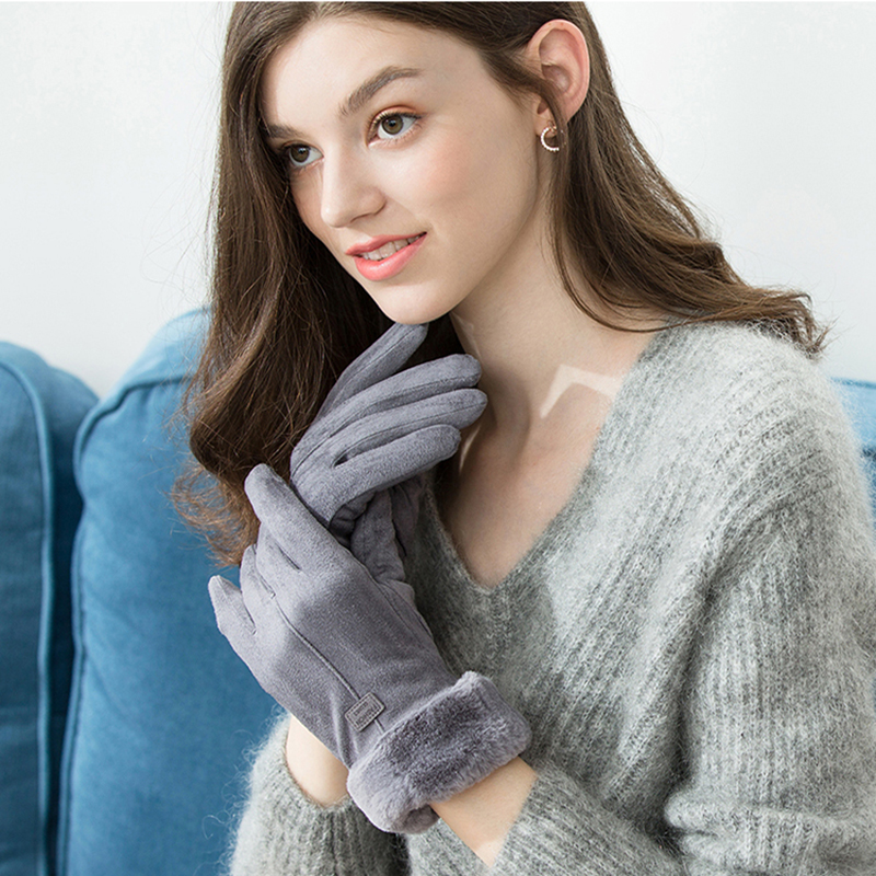 Winter Gloves For Women Touch Screen Lady Suede Warm Plush Inside Finger Gloves Female Winter Elegant Soft Black Mittens Gloves