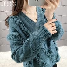 Fashion Tassel Knitted Sweater Pullover Winter Loose Fringe V Neck Jumper Mohair Streetwear Ribbed Tops Casual W