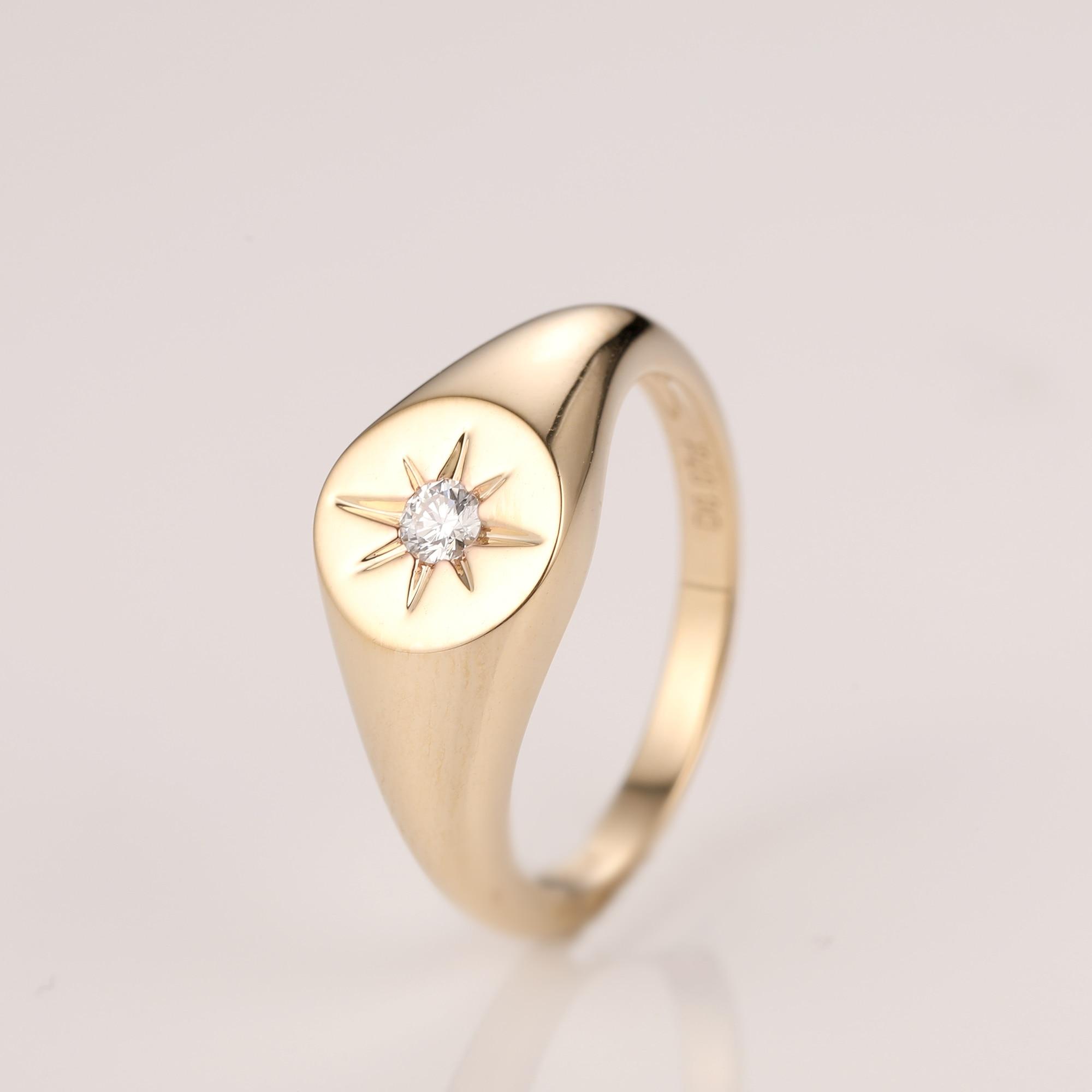 LASAMERO taille ronde Solitaire 0.07CT pavé serti diamant naturel 14k or Rock Punk bague ethnique chevalière bague pour hommes