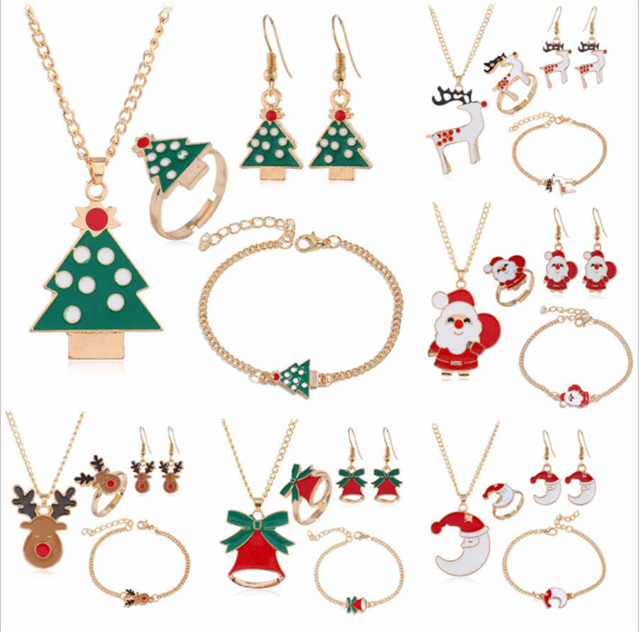 New Fashion Christmas Jewelry Set For Women Girls Xmas Santa Claus Bell Elk Necklace Earrings Bracelet Ring Party Gifts