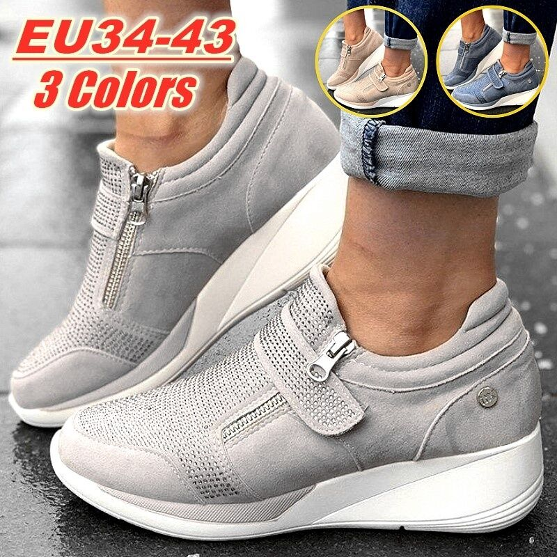 Women Sneakers Wedges Shoes Thick Sole Height Increasing Platform Vulcanized Ladies Loafers Rubber Shoes Zapatos De Mujer