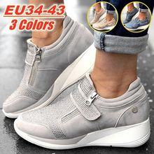 Women Sneakers Wedges Shoes Thick Sole Height Increasing Pla