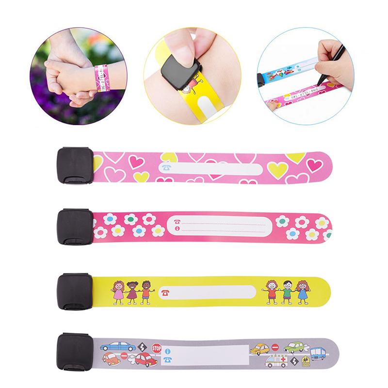4PCS Adjustable Children Travel Outdoor Safe Anti-lost Wristband Safety Recognition Bracelet For Kids  Waterproof Wrist Strap