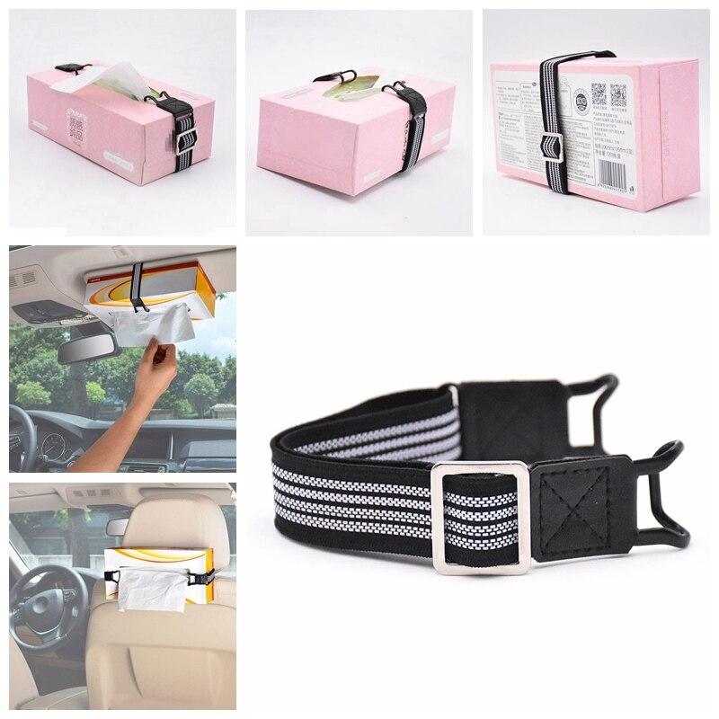 Car Tissue Box Holder Strap Elastic Belt Visor Headrest Holder Kleenex Headrests Paper Boxs Outdoor Tool