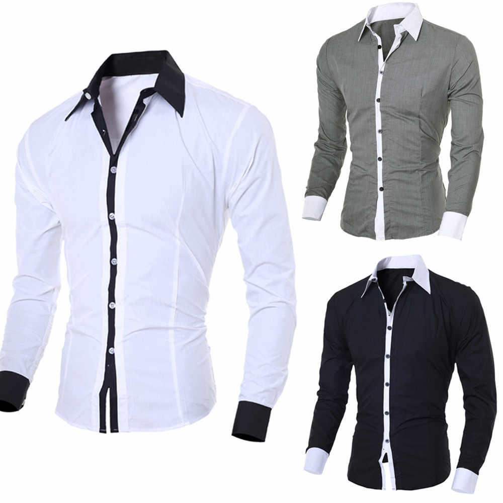 Männer Casual Shirts 2019 Herbst Neue Fashion Solid Farbe Mann Langarm Baumwolle Slim Fit Casual Business Taste Hemd Tops # G2