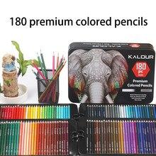 Tłuste kredki z metalowe pudełko 180 unikalne kolorowe kredki i wstępnie zaostrzone kredki do kolorowanki-idealny prezent na boże narodzenie