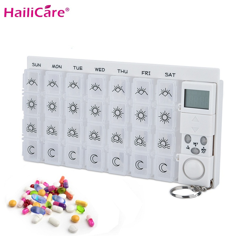 28 Grids Weekly 7 Days Pill Box Medicine Pill Case Organizer LED Timer Reminder S Tablets Storage Pill Dispenser Alarm Clock