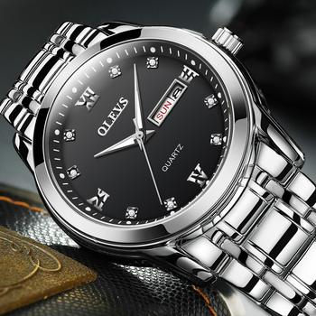 OLEVS Top Brand Men Quartz Waterproof Watch Classic Men Business Stainless Steel Strap Watches Date Clock 2