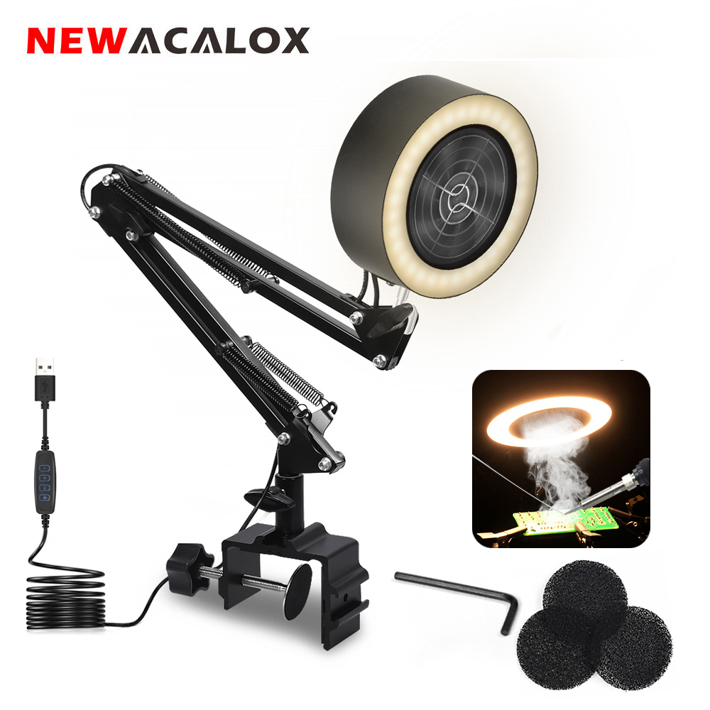 NEWACALOX Soldering Iron Smoke Absorber USB Fume Extractor with Active Carbon Filter Sponge 3 Colors LED Light for Welding Work