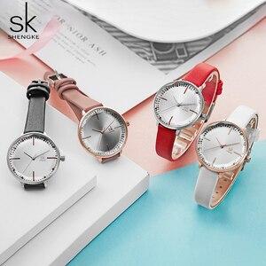 Image 2 - Shengke montre bracelet étanche en cuir pour femmes, montre à Quartz pour filles, bonne qualité, cadeau pour épouse/maman, décontracté